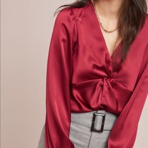 NWT Brand New Anthropologie Red knotted satin top